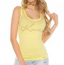 TOP CANOTTA GIALLA ORO donna maglia giromanica sottogiacca T-shirt strass borchie dorate strass AZ44