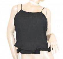TOP NERO donna canotta bretelle maglietta sottogiacca giromanica elegante B24