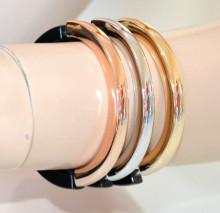 TRIS BRACCIALI RIGIDI donna nero oro rosa argento dorato lucidi estensibili pulsera N97