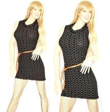 MINI ABITO donna vestito nero tubino abitino tinta unita a nido d'ape con cintura vestido dress kleid V26