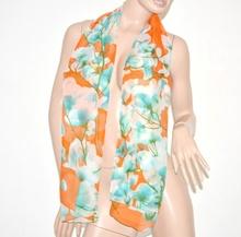 FOULARD donna seta velato stola coprispalle x vestito elegante fantasia floreale scarf bufanda 51