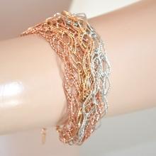 BRACCIALE donna ARGENTO ORO ROSA elegante DIAMANTATO ANELLI bracelet pulsera 520