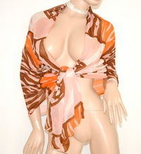 STOLA ROSA CIPRIA CORALLO BRONZO maxi foulard donna coprispalle seta velata elegante da cerimonia S6
