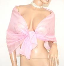 STOLA ROSA donna coprispalle foulard scialle velato seta elegante damigella cerimonia E01