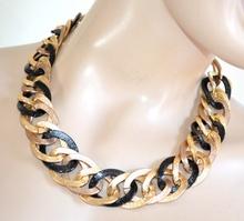 COLLANA ORO NERA donna girocollo catena anelli dorata sexy collier F335