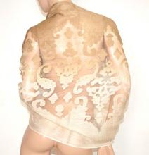 STOLA donna BEIGE CAMEL 50% SETA coprispalle scialle foulard ricamo velato elegante A10