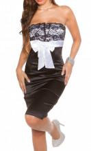 ABITO NERO BIANCO donna vestito pizzo ricamato decoltè elegante cerimonia vestido A38