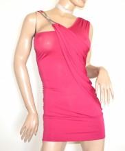 ABITO ROSA FUCSIA donna vestito corto miniabito strass cerimonia made in Italy G33