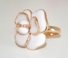 ANELLO BIANCO ORO donna dorato petali fiore smaltato fedina floreale elegante anel ring N75