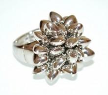 ANELLO donna argento ciondoli cuori elastico a molla fascia estensibile ring BB6