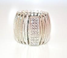 ANELLO donna ARGENTO veretta strass cristalli elastico estensibile elegante F5