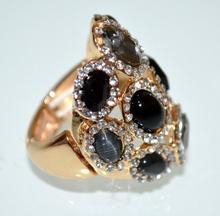 ANELLO donna oro nero grigio elegante pietre cristalli elastico strass trasparenti taglia unica cerimonia A7