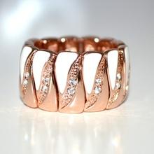 Anello donna oro rosa bianco elastico strass cristalli elegante cerimonia 54