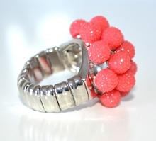 ANELLO donna ROSSO CORALLO fascia strass elastica a molla elegante ring F75