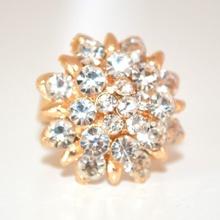ANELLO ORO donna STRASS fedina  CRISTALLI regolabile dorato ring anillo anneau 220