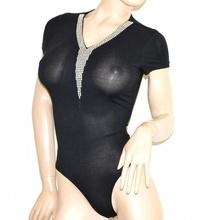 BODY NERO donna strass maglietta manica corta cotone sottogiacca elegante G15