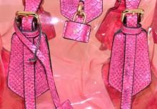 BORSA ROSA FUCSIA donna bauletto trasparente pvc eco pelle rettile bag sac B5