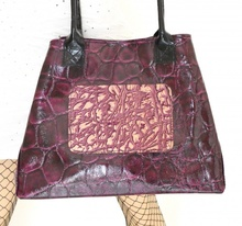 BORSA VIOLA donna VERA PELLE stampata cocco vernice lucida shopper a mano spalla made italy B05