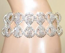 BRACCIALE ARGENTO donna strass semi-rigido cristalli brillantini cerimonia BB10