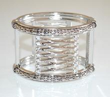 BRACCIALE ARGENTO RIGIDO donna strass cristalli schiava elegante armband bracelet A74