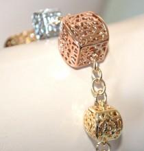 BRACCIALE donna ciondoli argento oro rosa dorato anelli elegante cerimonia BB36
