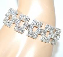BRACCIALE donna CRISTALLI argento rigido elegante sposa cerimonia bracelet F210