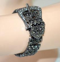 BRACCIALE donna NERO GRIGIO strass cristalli elastico cinturino elegante N81