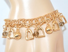 BRACCIALE donna oro ciondoli cuori cristalli catena elegante regalo san valentino Z22