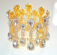 BRACCIALE donna ORO CRISTALLI semi rigido STRASS dorato elegante cerimonia sposa bracelet 740