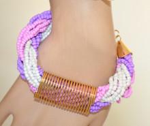 BRACCIALE donna ORO dorato perle perline lilla glicine viola rosa bianche multicolor V1