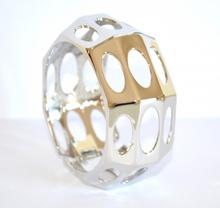 BRACCIALE donna RIGIDO ARGENTO elegante a SCHIAVA cerchi acciaio armband pulsera 1035