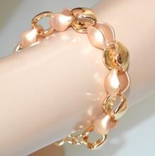 BRACCIALE oro dorato donna catena anelli lucidi satinati elegante cerimonia A35
