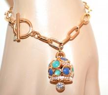 BRACCIALE oro dorato pietre verdi azzurre ciondolo donna cristalli strass catena anelli elegante G48