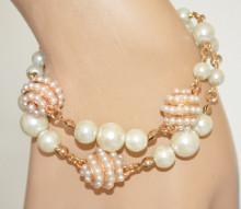 BRACCIALE PERLE donna oro dorato charms ciondoli torchon perline bianche sposa elegante cerimonia N54