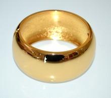 BRACCIALE RIGIDO oro dorato lucido donna a schiava ovale metallo party festa G6