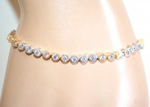BRACCIALE tennis argento oro dorato cerchi strass cristalli brillanti regalo A3