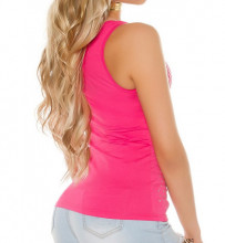 CANOTTA ROSA FUCSIA ORO donna top maglia giromanica sottogiacca T-shirt borchie strass AZ44