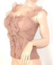 ... CANOTTA TOP BEIGE donna taupe sottogiacca elegante seta zip maglietta  party festa cerimonia 50X. prev. next. prev 15781e75bae
