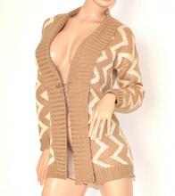 Cardigan maglione aperto BEIGE donna lana maniche lunghe maglia fantasia maglioncino luminoso 140