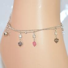 """CAVIGLIERA donna argento ciondoli cuori """"love"""" diamantata sfere cristalli strass brillantini luccicanti 1"""
