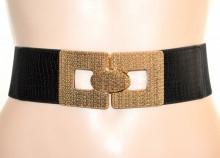 CINTURA donna NERA ORO stringivita elastica eco pelle bustino a molla belt G64