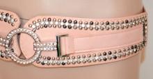 CINTURA ROSA CIPRIA donna stringivita strass elastica ecopelle chiodini woman belt G28