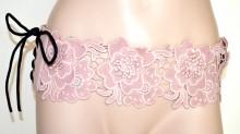 CINTURA ROSA CIPRIA PIZZO donna stringivita bustino fascia ricamata corsetto lacci BB2