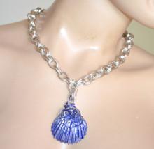 COLLANA argento blu donna CIONDOLO CONCHIGLIA girocollo catena pendaglio ожерелье GT6
