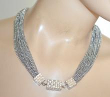 COLLANA ARGENTO donna girocollo collier multi fili catena charms strass elegante N46