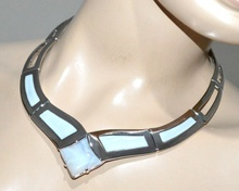 COLLANA ARGENTO donna pietra grigio girocollo collarino rigido collier crew-neck G5