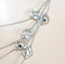 COLLANA ARGENTO lunga collier donna elegante strass cristalli da cerimonia E30