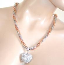 COLLANA CUORE ciondolo donna girocollo argento oro rosa strass collier F250