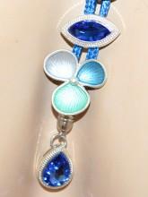 COLLANA donna BLU ciondoli fiori azzurri verde acquamarina argento cristalli collier G70