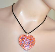 COLLANA donna ciondolo cuore arancio viola bianco girocollo laccio nero ragazza PX2